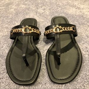 COACH Women Black Metal Gold Chain Leather Sandals
